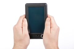Holding Portable E-book Reader Stock Photography