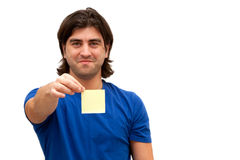 Holding post it note Royalty Free Stock Photo