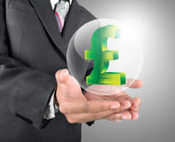 Holding Pound Sterling with crystal ball Stock Images