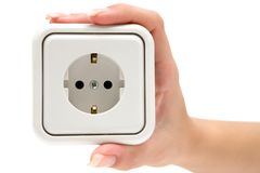 Holding a Power Outlet Stock Images