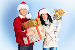 Holding presents Royalty Free Stock Photo