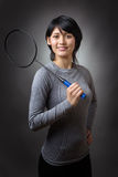 Holding the racquet Stock Photo