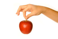 Holding red apple stock images