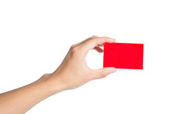 Holding a red card Stock Images