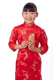 Holding red envelope chinese girl Royalty Free Stock Image