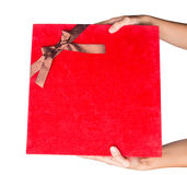 Holding Red Gift Box III Royalty Free Stock Photos