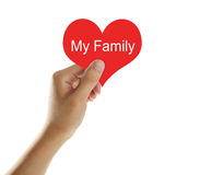 Holding Red Heart with Text My Family stock image