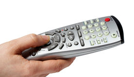 Holding a remote. With path clipping stock images