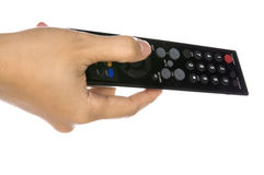 Holding Remote Control Stock Photo
