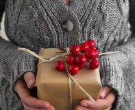 Holding Rustic Decorated Christmas Gift with Red Berries Bunch Royalty Free Stock Image