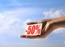 Holding sale card #2 Stock Photography