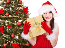 holding santa för hatt för askgåvaflicka Royaltyfria Foton
