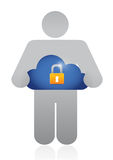 Holding a secure cloud. illustration design Royalty Free Stock Photography