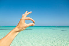 Holding a shell. Hand holding a small shell against the caribbean blue water of the Bahamas Royalty Free Stock Image