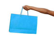 Holding shopping bag isolated Royalty Free Stock Photos
