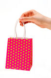 Holding shopping red bag royalty free stock photography