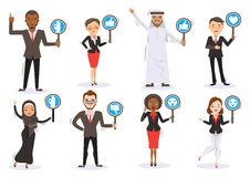 Holding Sign. Business men and women Six Character Personality Holding sign ,thumps up ,thumps down ,OK ,Surprised, love, icon.Multinational Team work Concept vector illustration