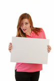 Holding a sign or placard Royalty Free Stock Image