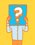 Holding a sign with question mark Stock Image
