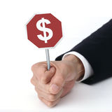 Holding signboard  money Royalty Free Stock Photo