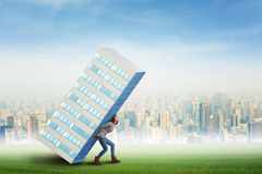 Holding a skyscraper Royalty Free Stock Photo