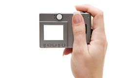 Holding a Small Digital Camera Stock Photo