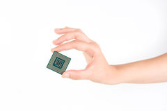 Holding Small Powerful Computer Processor Royalty Free Stock Photo