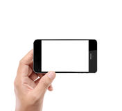 Holding smart phone Stock Images
