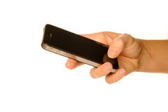 Holding smartphone. Holding business black smartphone Royalty Free Stock Photos