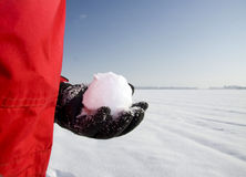 Holding the snowball Royalty Free Stock Photos