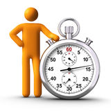 Holding Stopwatch. 3D rendered stick figure holding stopwatch Royalty Free Stock Images