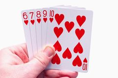 Holding straight flush Royalty Free Stock Images