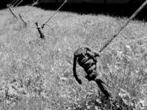 Holding strong. A row of pins holding a rope of a huge tent. BW Royalty Free Stock Images