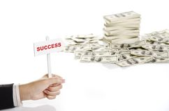 Holding success sign Royalty Free Stock Image
