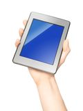 Holding tablet stock image