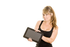 Holding a tablet computer Royalty Free Stock Photo