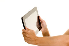 Holding a tablet computer Royalty Free Stock Image
