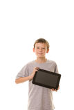 Holding a tablet computer Stock Photo