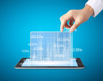 Holding tablet computer with graphic Royalty Free Stock Images