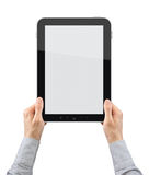 Holding Tablet PC. Businessman hands are holding touch screen device. Vertical composition. Isolated on white Royalty Free Stock Photos