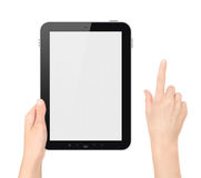 Holding Tablet PC With Touching Hand Isolated. Hand holding tablet pc with touching hand. Add clipping path for touching hand. Isolated on white royalty free stock photos