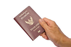 Holding a Thailand passport. Royalty Free Stock Images