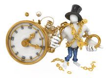 Holding Time. Strong 3d figure holding large watch chain, horizontal, over white, isolated Royalty Free Stock Photography