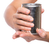 Holding a Tin Can II Royalty Free Stock Photography