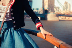 Holding on to the rail onboard a ship Royalty Free Stock Photos