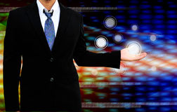 Holding a touch screen interface Royalty Free Stock Photo