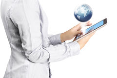 Holding touch screen tablet Stock Photography