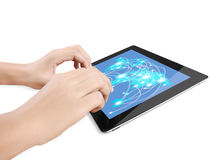 Holding touch screen tablet Royalty Free Stock Photo