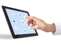 Holding touch screen tablet Stock Images