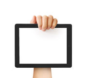 Holding touch screen tablet Stock Photos